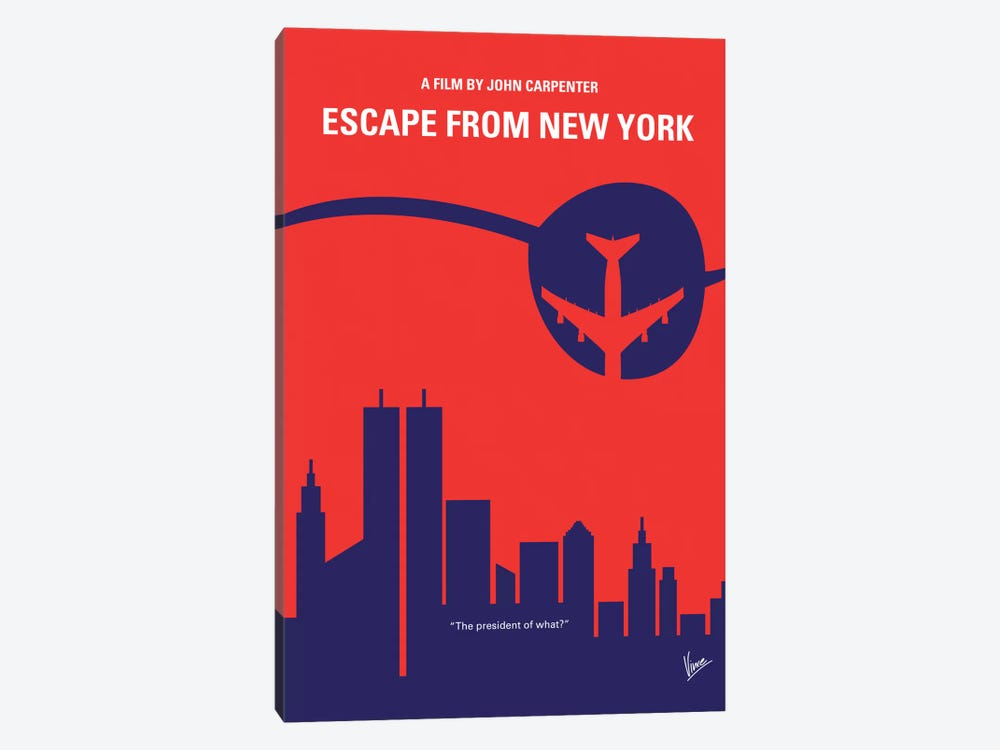 Escape From New York Minimal Movie Poster by Chungkong 1-piece Canvas Art