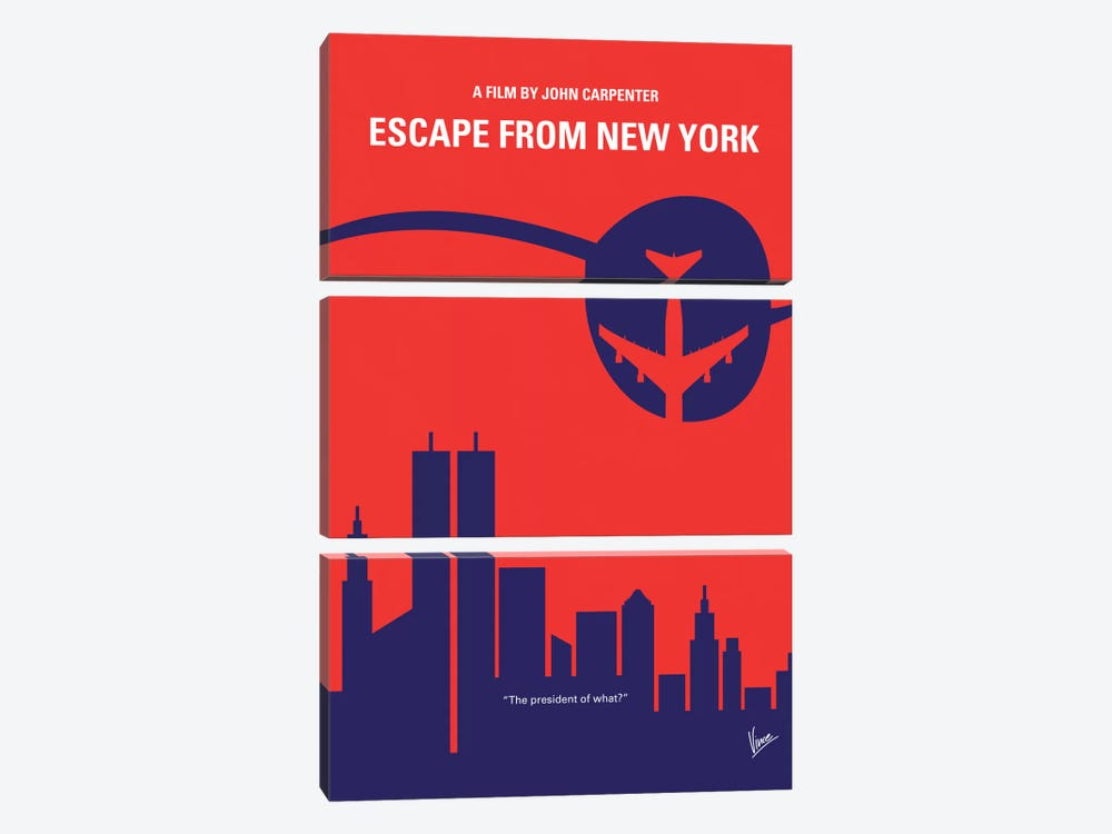 Escape From New York Minimal Movie Poster by Chungkong 3-piece Canvas Artwork
