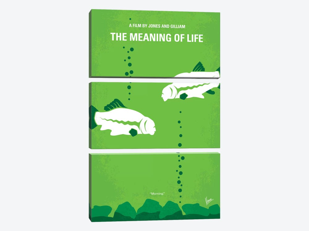 The Meaning Of Life Minimal Movie Poster by Chungkong 3-piece Canvas Art
