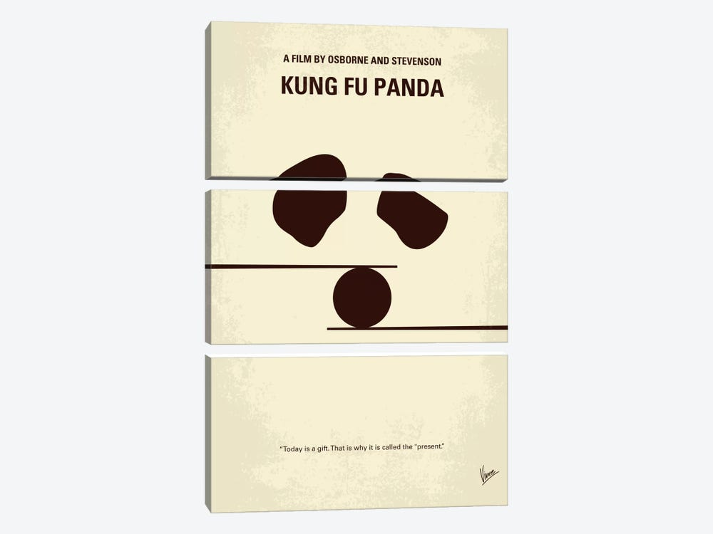 Kung Fu Panda Minimal Movie Poster by Chungkong 3-piece Canvas Art Print