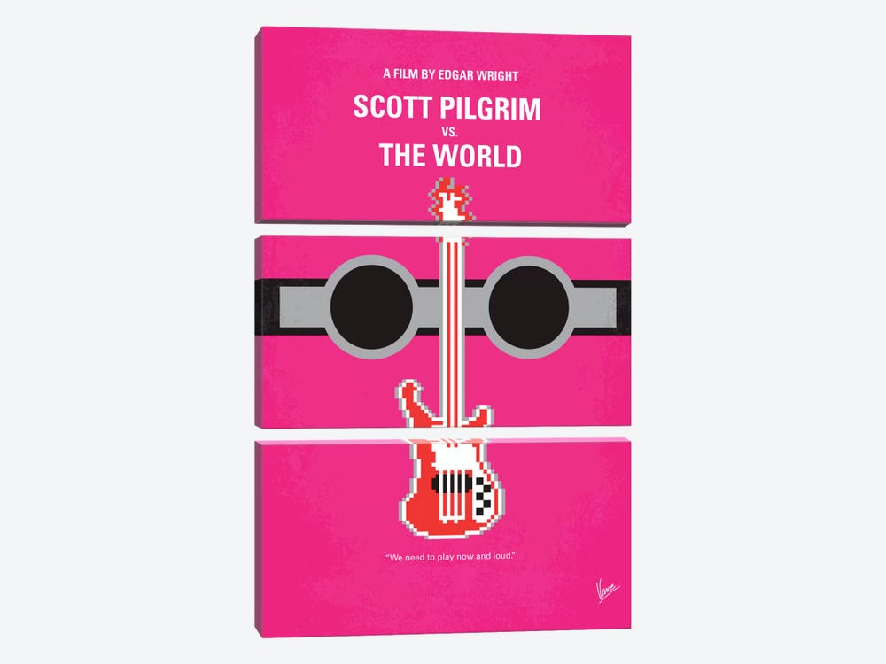 Scott Pilgrim vs. The World Minimal Movie Poster by Chungkong 3-piece Canvas Print