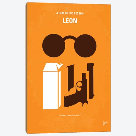 Leon Minimal Movie Poster Canvas Print #CKG244} by Chungkong Canvas Artwork