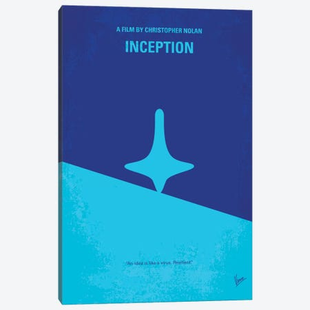 Inception Minimal Movie Poster Canvas Print #CKG245} by Chungkong Canvas Artwork