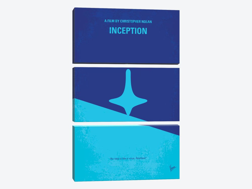 Inception Minimal Movie Poster by Chungkong 3-piece Canvas Art Print