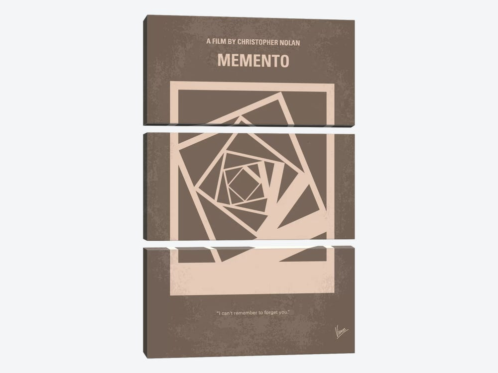 Memento Minimal Movie Poster 3-piece Canvas Artwork