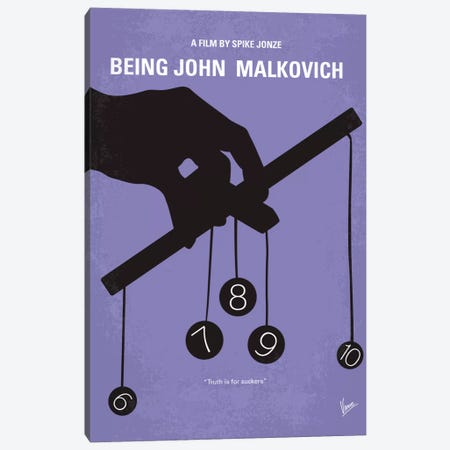 Being John Malkovich Minimal Movie Poster Canvas Print #CKG24} by Chungkong Canvas Wall Art