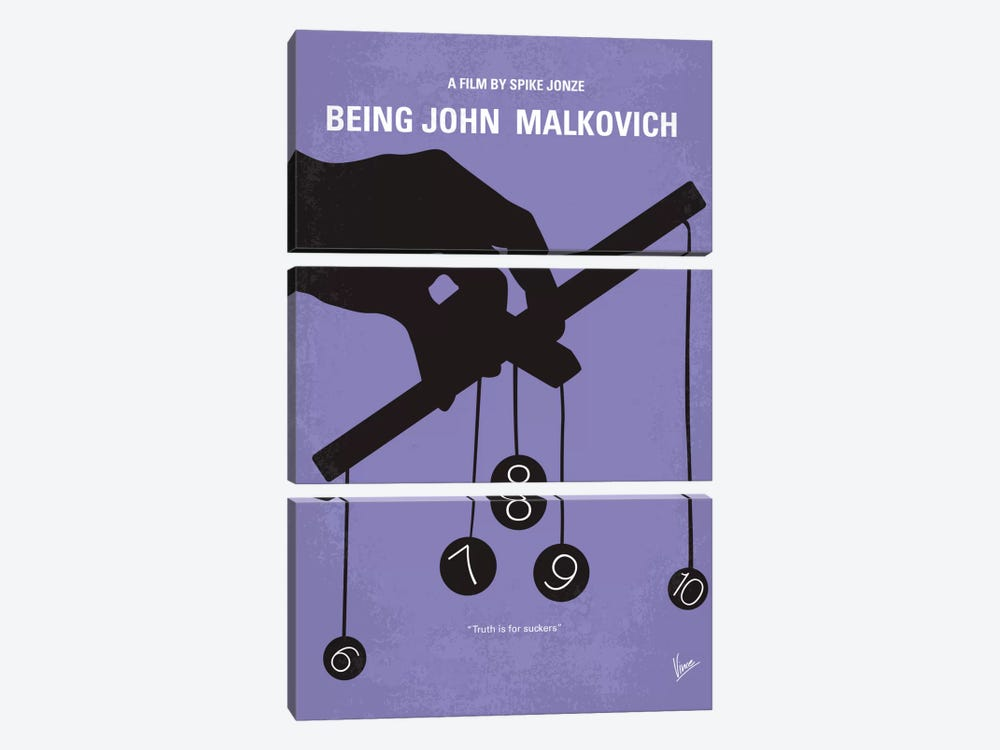 Being John Malkovich Minimal Movie Poster by Chungkong 3-piece Canvas Art Print