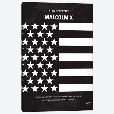 Malcolm X Minimal Movie Poster Canvas Print #CKG254} by Chungkong Art Print