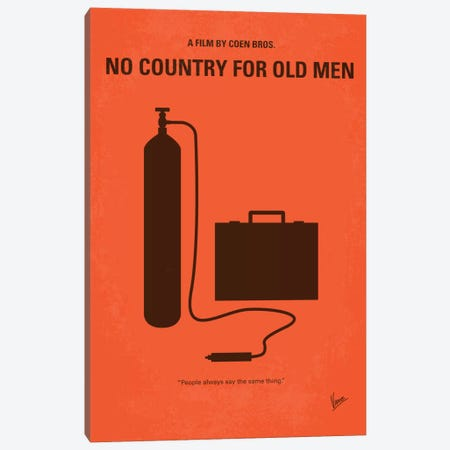 No Country For Old Men Minimal Movie Poster Canvas Print #CKG257} by Chungkong Canvas Art Print