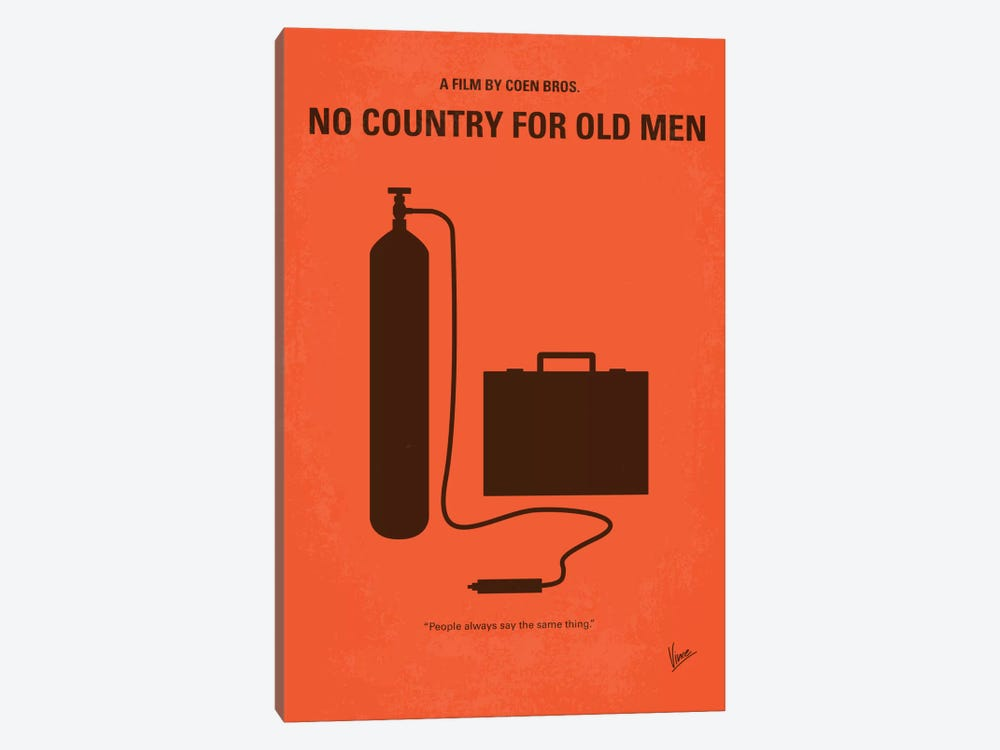 No Country For Old Men Minimal Movie Poster by Chungkong 1-piece Canvas Wall Art