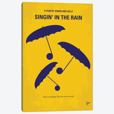 Singin' In The Rain Minimal Movie Poster Canvas Print #CKG258} by Chungkong Canvas Art