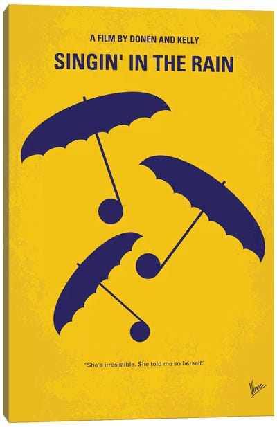 Singin' In The Rain Minimal Movie Poster Canvas Art Print