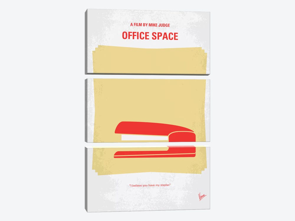 Office Space Minimal Movie Poster by Chungkong 3-piece Canvas Wall Art