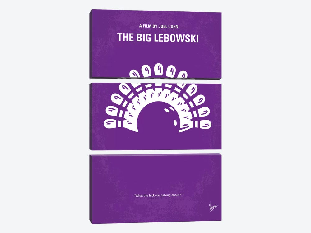 Big Lebowski Minimal Movie Poster by Chungkong 3-piece Canvas Art