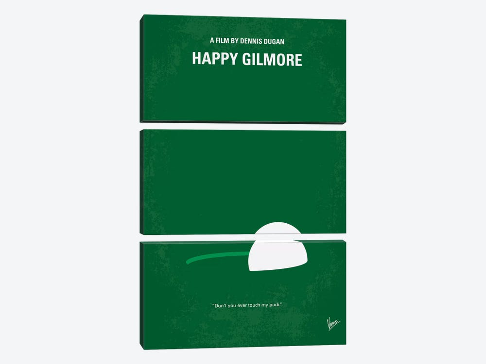 Happy Gilmore Minimal Movie Poster by Chungkong 3-piece Canvas Wall Art