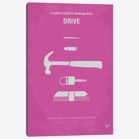 Drive Minimal Movie Poster Canvas Print #CKG261} by Chungkong Canvas Art Print