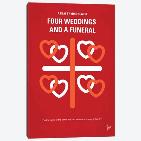 Four Weddings And A Funeral Minimal Movie Poster Canvas Print #CKG262} by Chungkong Canvas Art Print
