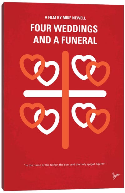 Four Weddings And A Funeral Minimal Movie Poster Canvas Print #CKG262