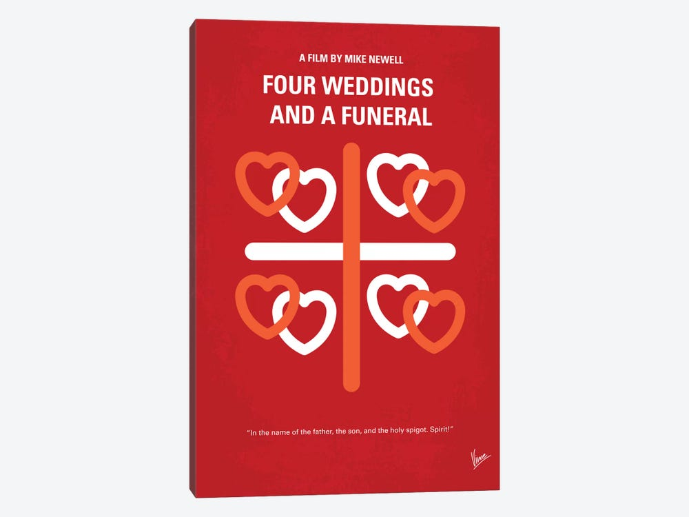 Four Weddings And A Funeral Minimal Movie Poster by Chungkong 1-piece Canvas Art