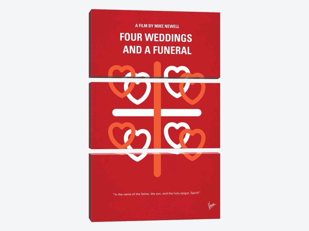 Four Weddings And A Funeral Minimal Movie Poster by Chungkong 3-piece Canvas Artwork