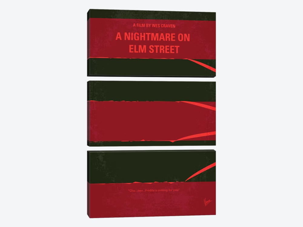 A Nightmare On Elm Street Minimal Movie Poster by Chungkong 3-piece Canvas Wall Art