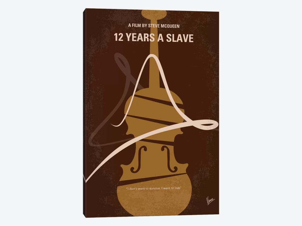 12 Years A Slave Minimal Movie Poster by Chungkong 1-piece Canvas Wall Art