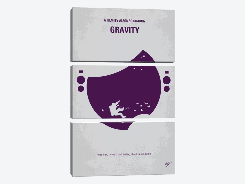Gravity Minimal Movie Poster by Chungkong 3-piece Canvas Art Print
