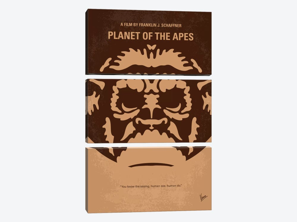 Planet Of The Apes Minimal Movie Poster by Chungkong 3-piece Canvas Wall Art