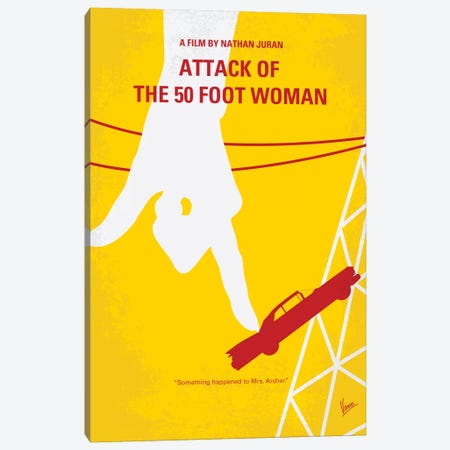 Attack Of The 50 Foot Woman Minimal Movie Poster Canvas Print #CKG279} by Chungkong Canvas Artwork