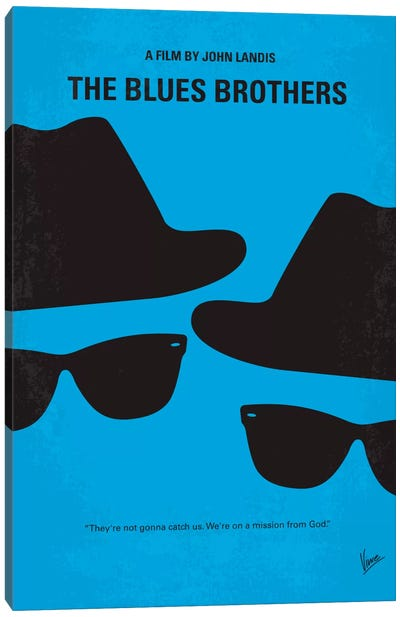 Blues Brothers Minimal Movie Poster Canvas Art Print