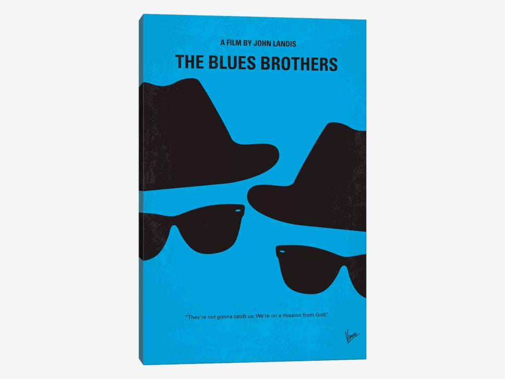 Blues Brothers Minimal Movie Poster by Chungkong 1-piece Canvas Art