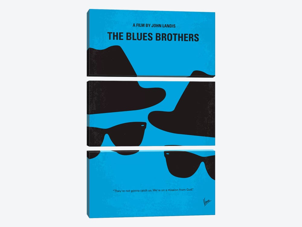 Blues Brothers Minimal Movie Poster by Chungkong 3-piece Canvas Art
