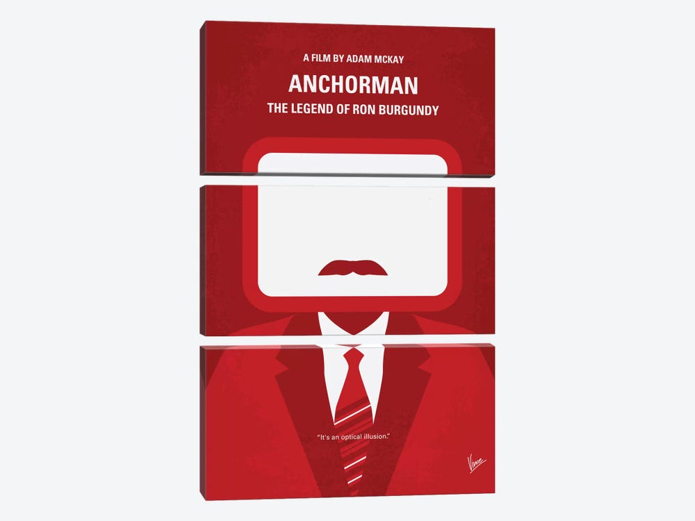 Anchorman Minimal Movie Poster by Chungkong 3-piece Canvas Wall Art