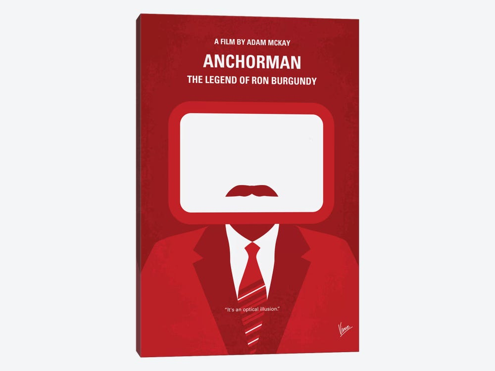 Anchorman Minimal Movie Poster by Chungkong 1-piece Canvas Artwork