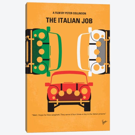 The Italian Job Minimal Movie Poster Canvas Print #CKG289} by Chungkong Art Print