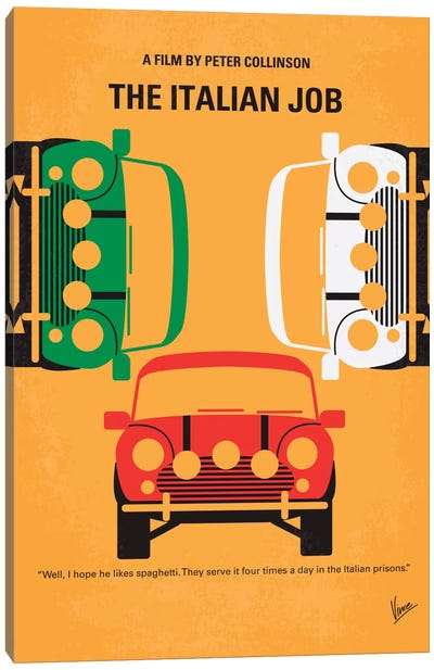 The Italian Job Minimal Movie Poster Canvas Art Print