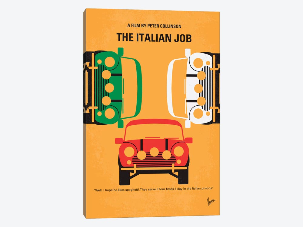 The Italian Job Minimal Movie Poster by Chungkong 1-piece Canvas Art Print