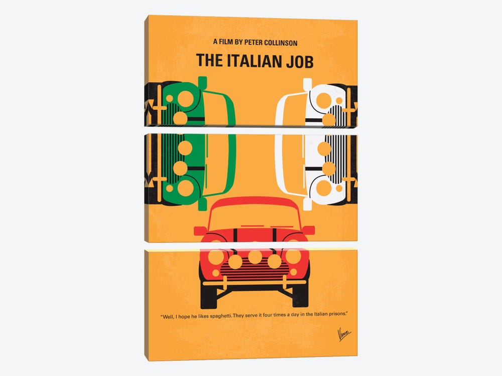 The Italian Job Minimal Movie Poster by Chungkong 3-piece Canvas Art Print
