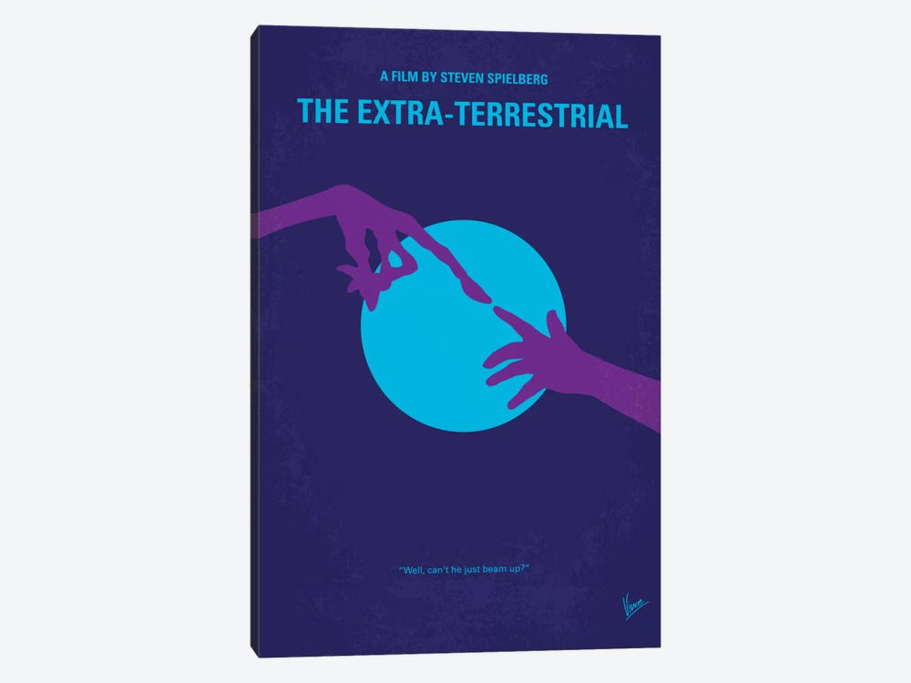 E.T. The Extra-Terrestrial Minimal Movie Poster by Chungkong 1-piece Canvas Print