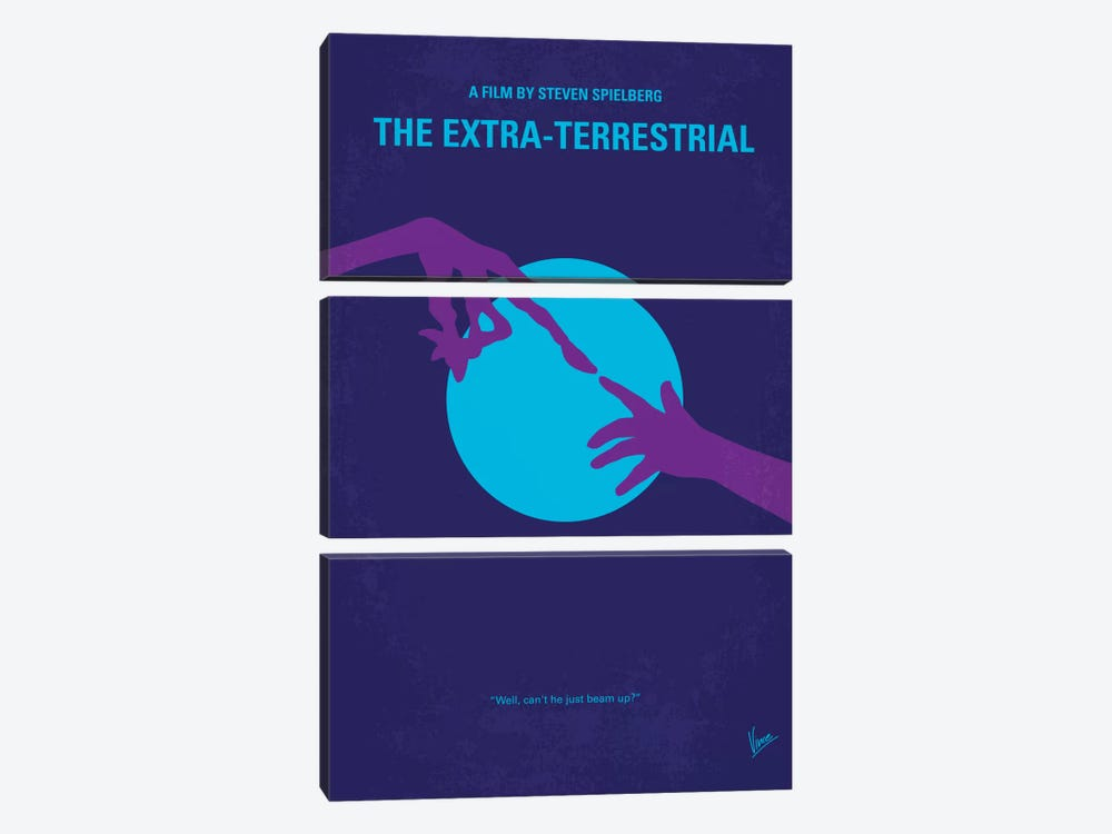 E.T. The Extra-Terrestrial Minimal Movie Poster by Chungkong 3-piece Canvas Print
