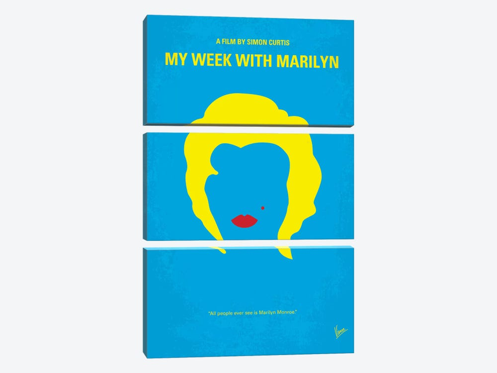 My Week With Marilyn Minimal Movie Poster by Chungkong 3-piece Art Print