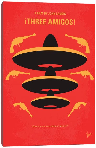 Three Amigos Minimal Movie Poster Canvas Art Print