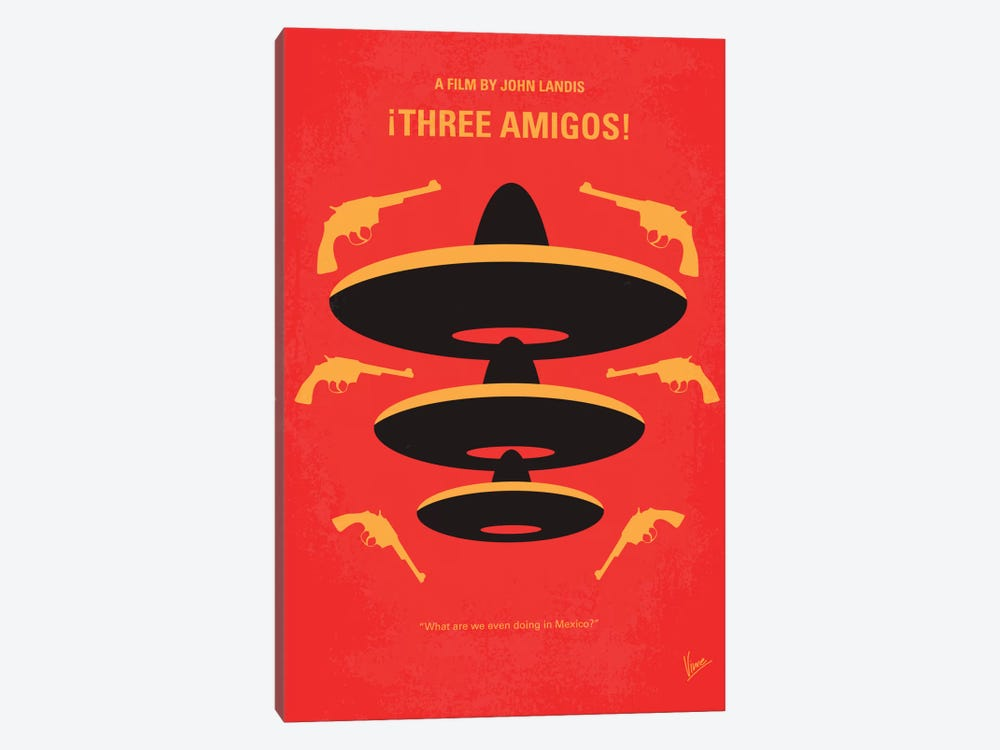 Three Amigos Minimal Movie Poster by Chungkong 1-piece Canvas Art
