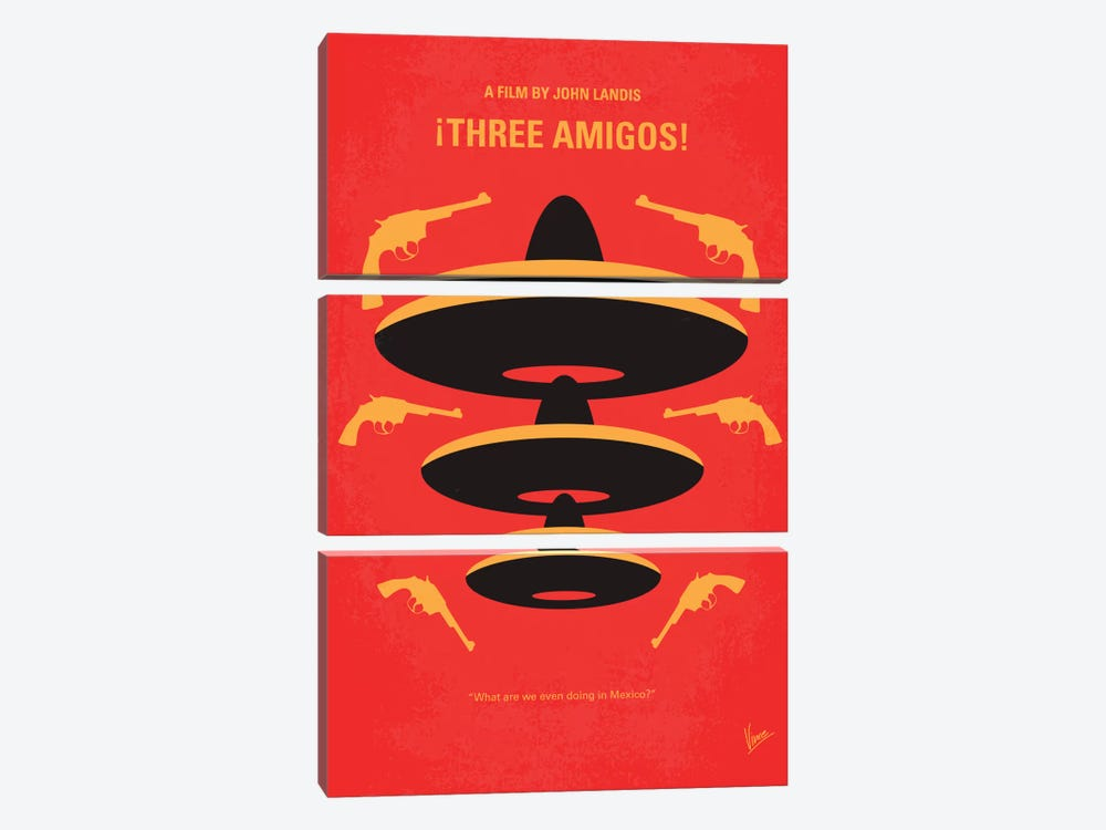 Three Amigos Minimal Movie Poster by Chungkong 3-piece Canvas Artwork