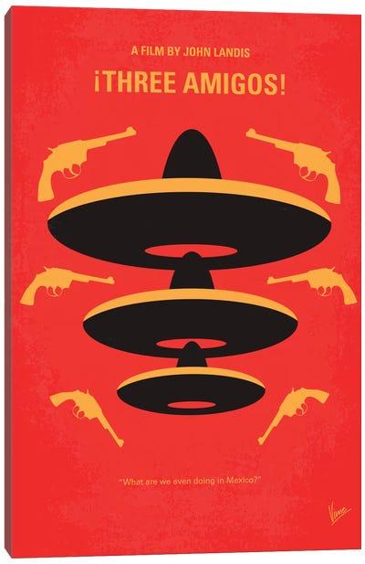 Three Amigos Minimal Movie Poster Canvas Art Print