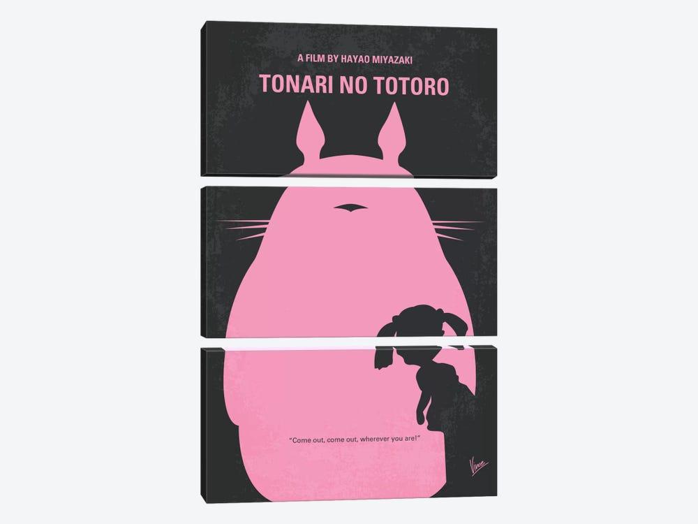 My Neighbor Totoro Minimal Movie Poster by Chungkong 3-piece Canvas Art Print