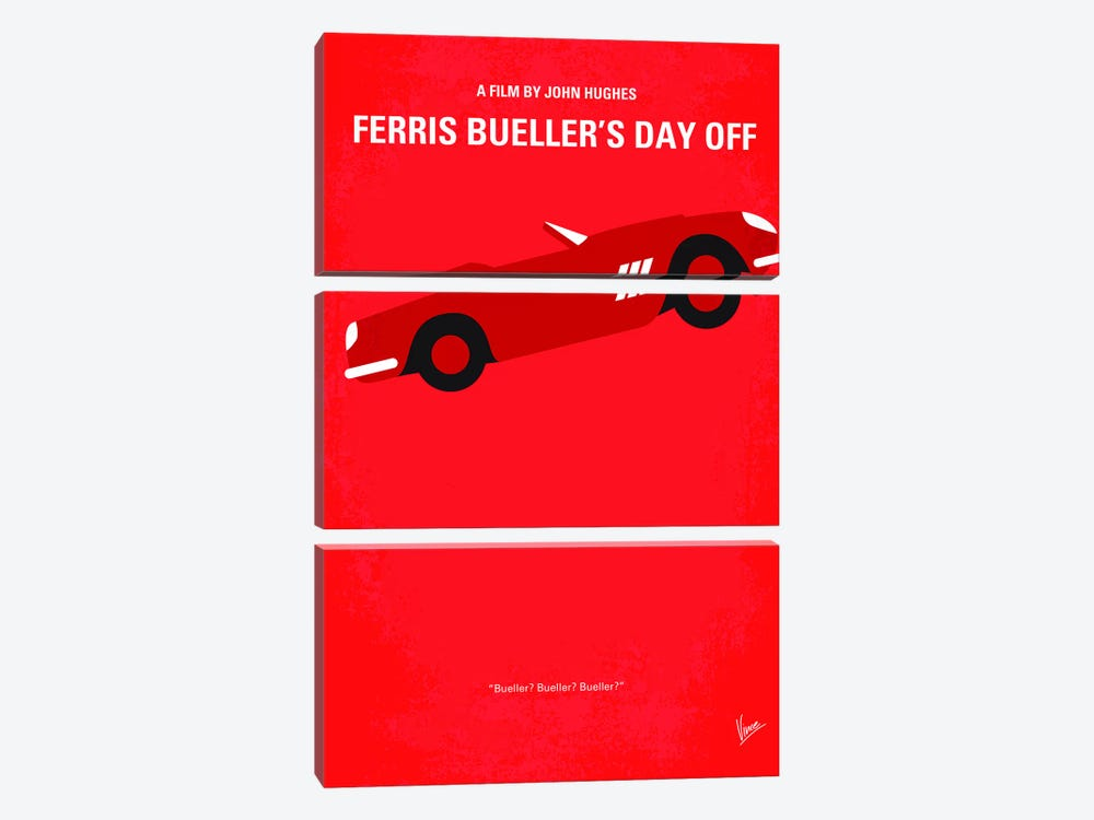 Ferris Bueller's Day Off Minimal Movie Poster by Chungkong 3-piece Canvas Print