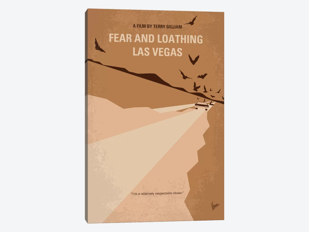 Fear And Loathing Las Vegas Minimal Movie Poster by Chungkong 1-piece Canvas Wall Art