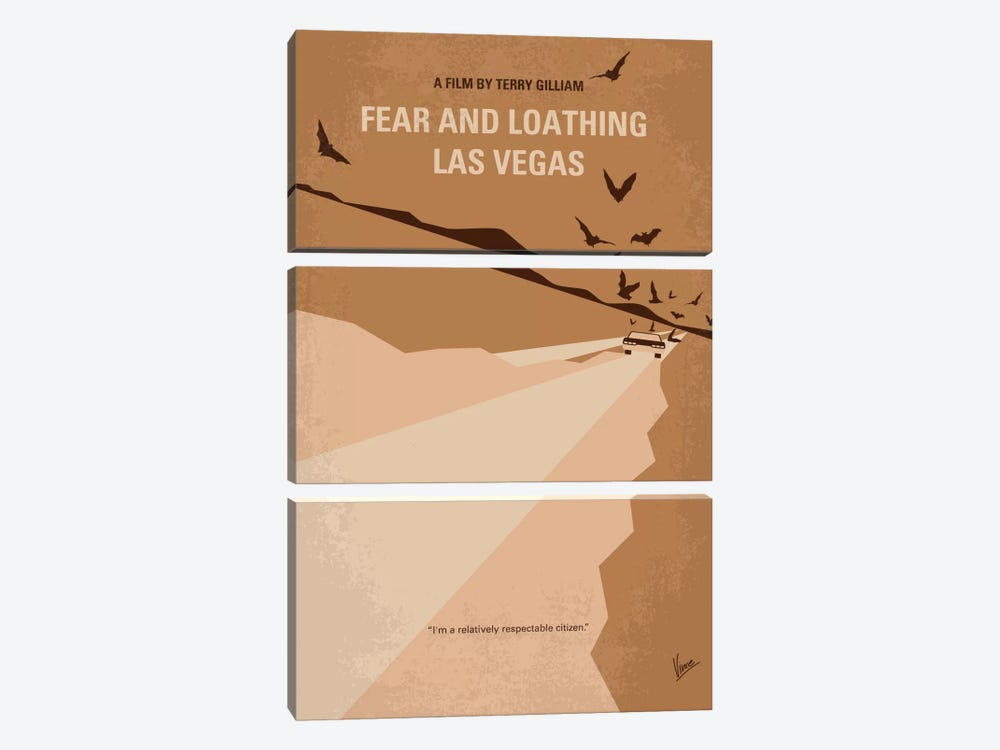 Fear And Loathing Las Vegas Minimal Movie Poster by Chungkong 3-piece Canvas Art