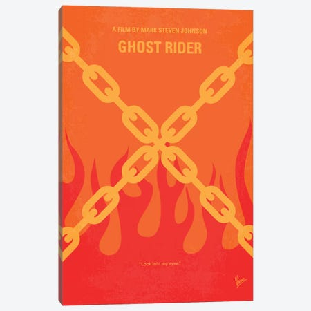 Ghost Rider Minimal Movie Poster Canvas Print #CKG306} by Chungkong Art Print